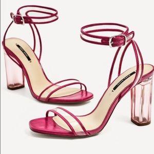 Zara Vinyl Fuchsia Heeled Sandals